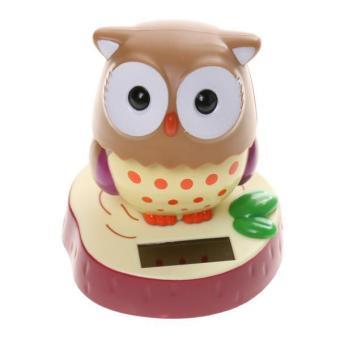 BolehDeals Cute Solar Powered Rotatable Head Owl Home Desk Office Car Ornament Toy Gift - intl