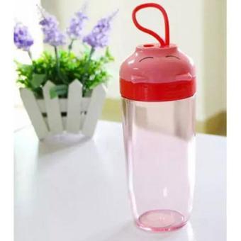 Universal Botol Minum Sleeping Pig Plastic Cup 390ML - Red
