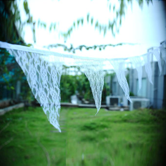 OEM 2.9M White Lace Hessian Banner Wedding Bunting Living Bed Room Home Decor