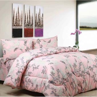 jaxine bedcover set tinggi 25 katun motif angella pink