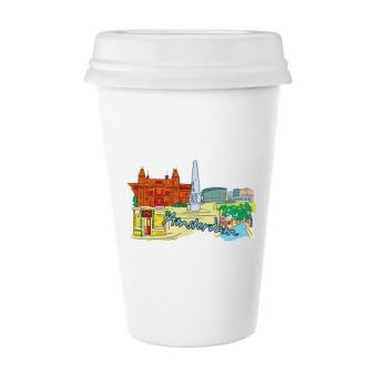Netherlands Armsterdam Canal Van Gogh Museum Watercolor Classic Mug White Pottery Ceramic Cup Milk Coffee Cup 350 ml - intl