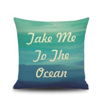 Blue Abstract Print Linen Pillow Cover Bed Pillow Cushion Case-3 - intl
