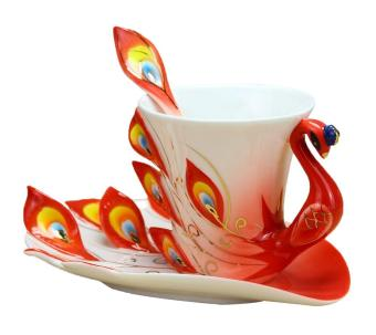 hazobau Peacock Mugs Hand Crafted China Enamel Porcelain Tea Mug Coffee Cup Set with Spoon and Saucer (Red)