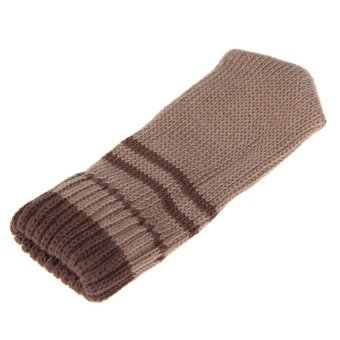 HDL 8PCS Practical Knitting Wool Furniture Leg Cover Brown Floor Protector