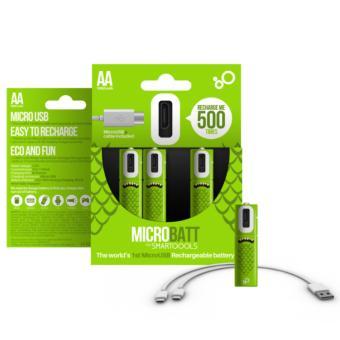 Universal MICROBATT Baterai Cas AA Micro USB 1000mAh 2PCS - Green
