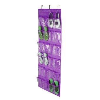 Kuhong 24 Pocket Shoe Space Door Hanging Organizer Storage Rack White Bag Closet Holder - intl