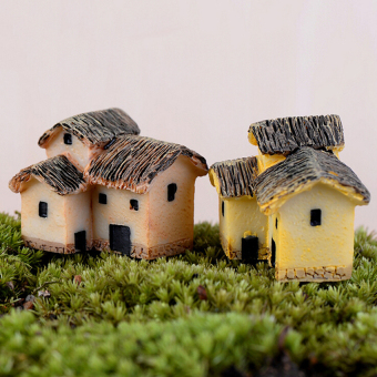 Mini Micro Thatched House Miniature Fairy Garden Craft Landscapedecor Multi