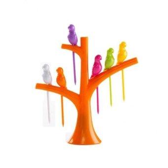BolehDeals 1 Set Food Fruit Fork Bird Pick Plastic Tree Trunk Holder Table Decor Orange - intl