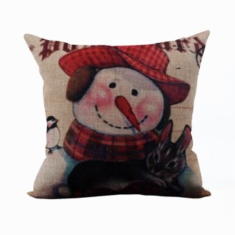 Nunubee Christmas Cotton Linen Pillowcase Throw Home Pillow Cover Bed Sofa Cushion Style 2