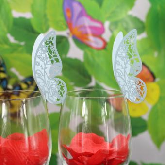BolehDeals 50pcs Butterfly Wine Glass Name Place Cards Wedding Cup Topper Decor -Blue