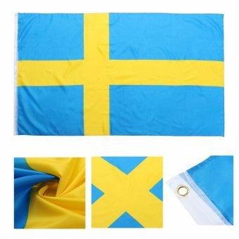 3 x 5 kaki besar Swedia bendera nasional bendera poliester dengan jiwa Grommet - Internasional