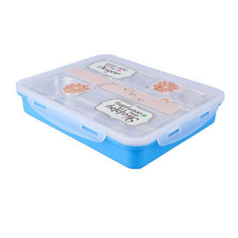 Eco-Friendly 304 Stainless Steel Lunch Box Detachable Bento Box - Blue - Intl