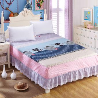 Semi Active Printing Cotton Twill Bedding Skirt 200*220cm - intl