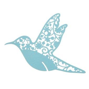 50PCS Creative Bird Paper Wine Glass Place Card Blue