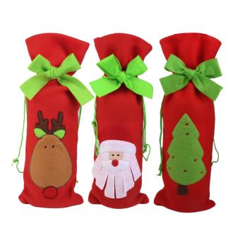 BolehDeals Wine Bottle Bag 3pcs with Xmas Santa Deer Tree Pattern