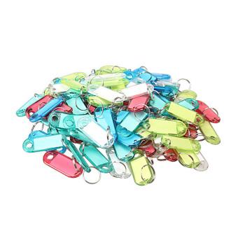100 buah plastik warna-warna-warni Key Tag ID Label dengan Split Ring gantungan kunci pada Label