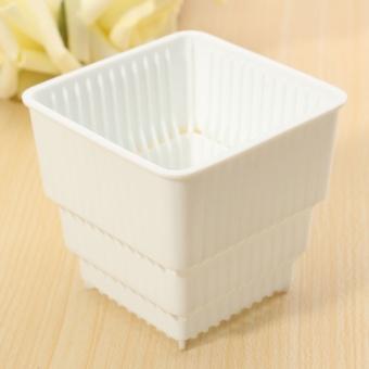 Single-Control Root Breathable PP Resin Flower Pots Home Garden Office Decor White - Intl