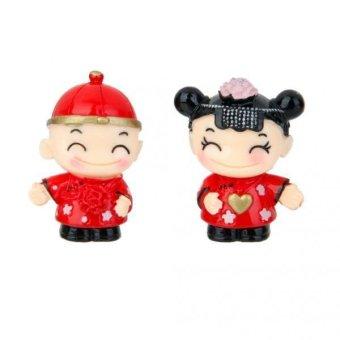 BolehDeals Pair Mini Dollhouse Bonsai Craft Garden Landscape DIY Chinese marry Decor - intl