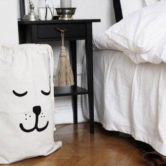 Cute Sleeping Bear Pattern Baby Toys Storage Canvas Bag Drawstring Bag Pouch White - intl