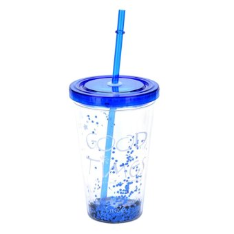 Fashion BlingBling Summer Straw Cup 450ml Double Plastic Cup Water Bottle Blue - intl