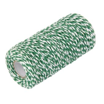 100M Wrap Gift Cotton Rope Ribbon Twine Rope Cord String Army Green, White