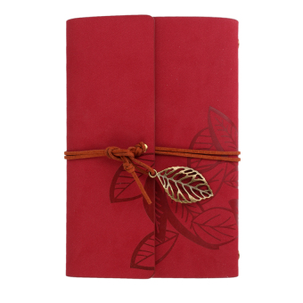 S & F Vintage Retro Notebook PU Leaf Cover for Journal Diary Note Book Gift (Red)