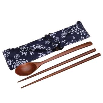 Harga 3 buah meletakkan sumpit dan sendok kayu China portabel dengan kain bungkus kado satu set