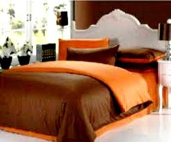 Jaxine Bed Cover Katun Tanpa Sprei Prada Polos Coklat Orange Uk. Single Bed