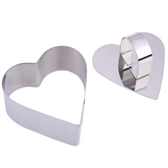 Stainless Steel Cupcake Salad Dessert Mousse Cheese Cake Cookie Mold Mould Ring (HEART) (Silver)