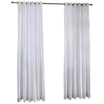 Harga 100 cm x 250 cm tirai jendela kamar Modern tenunan warna gorden (putih )