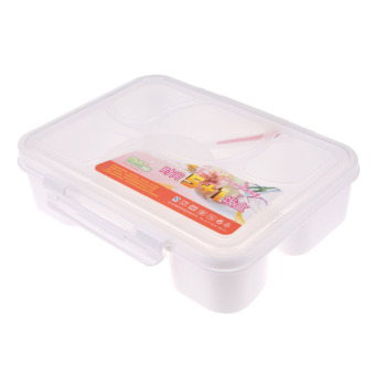 Portable Microwave Bento Lunch Box 5+1 Food Container Storage Box a(White)