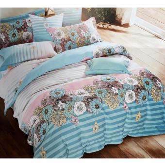 Alona Ellenov Jepang Soft Flower Sprei Katun Jepang Super 100 x 200 x 25cm- biru