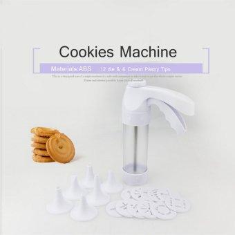 Bakeware Tools DIY Cookies Machine 12 Die & 6 Cream Pastry Tips Baking Tools Cookies Machine 19PS