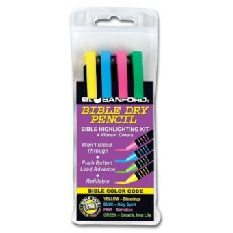 Sandford Bible Highlighter Kit - 4 Colors Dry Pencil Non-Bleed