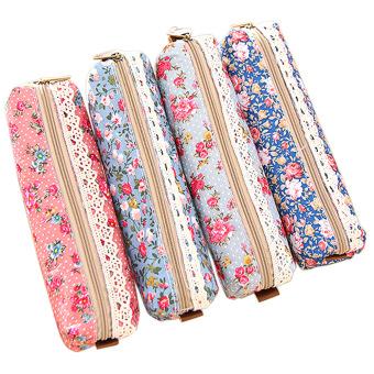 4 PCS Polka Dot Flower Style Canvas Pouch Pen Bag Pencil Case Different Colors