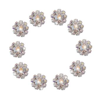 BolehDeals 10pcs Crystal Flower Buttons Flatback Decoration DIY 12mm AB Color