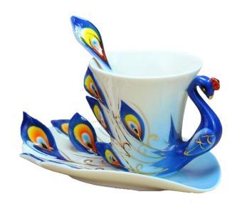 oxoqo Peacock Mugs Hand Crafted China Enamel Porcelain Tea Mug Coffee Cup Set with Spoon and Saucer (Blue)