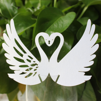 BolehDeals 50pcs Swan Wine Glass Table Name Place Card for Wedding Party Decor White
