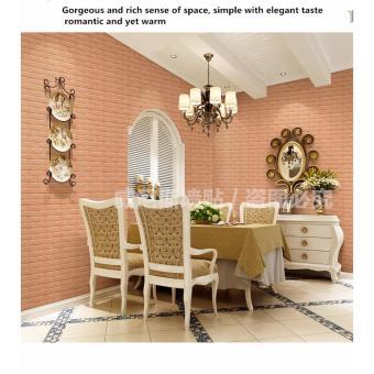 Harga European 3d stereoscopic wall stickers living room bedroom brick pattern TV backdrop waterproof self-