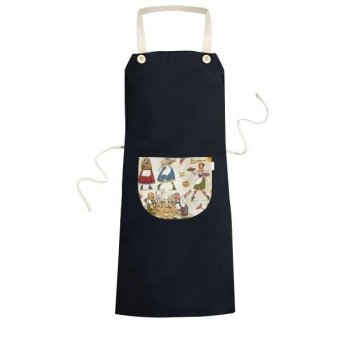 Germany Breakfast Customs Culture Resident Diet Illustration Pattern Cooking Kitchen Black Bib Aprons With Pocket for Women Men Chef Gifts - intl