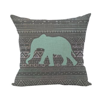 Nunubee Animal Home Pillowcase Cotton Linen Pillow Covers Decorative Bed Cushion Cover Elephant