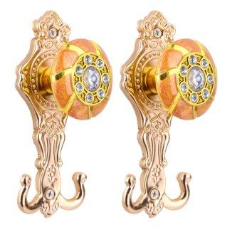BolehDeals 2 buah pengait gantungan pintu dinding tirai desain berlian rhinestone merak imitasi- kuning