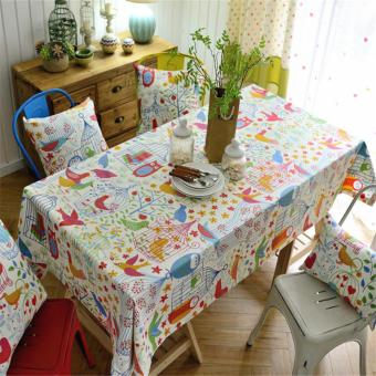 140*180cm Floral Printed Modern Table Cloth Cover Home Kitchen Cotton Linen Tablecloth