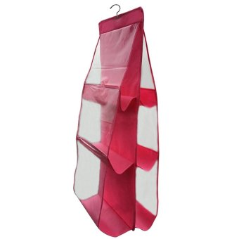 6 Pocket Double-size Design Clear Hanging Closet Handbag Purse Storage Organizer Holder Red - intl