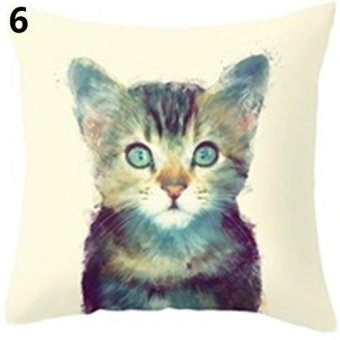 Sanwood Cute Wild Animal Linen Pillow Cover Sofa Square 18 Inch Pillowcase 6 - intl