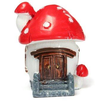 Miniature Escalator Moss Mushroom House Dollhouse Garden Fairy Ornament Pot Plant Craft Home Decor Red