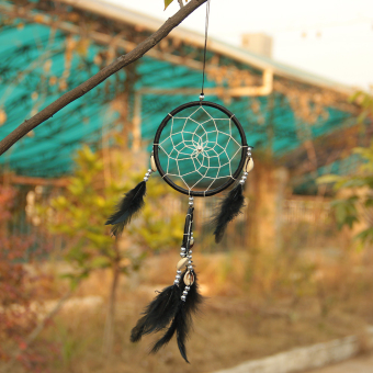 Black Dream Catcher Circular Net With feathers Wall Hanging Decoration Decor