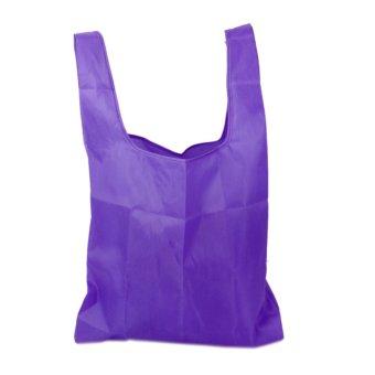 Reusable Shoulder Pouch Tote Handbag Folding Bags (Purple)