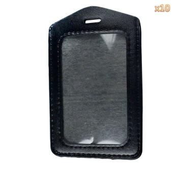 moob Pack of Synthetic Leather Business ID Badge Card Holder (Black)