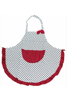 Bluelans Women BowKnot Dot Aprons Kitchen Restaurant Cafe Bib Cooking With Pocket Black